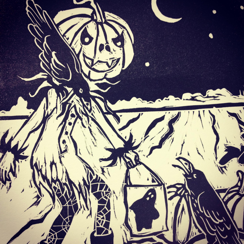 Halloween linocut