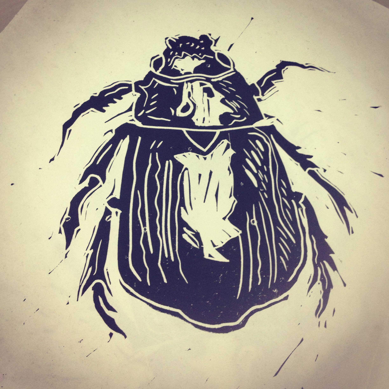 Beetle linocut
