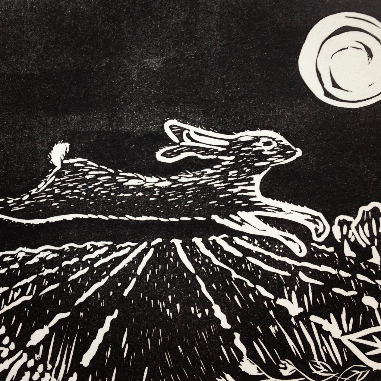 Hare linocut