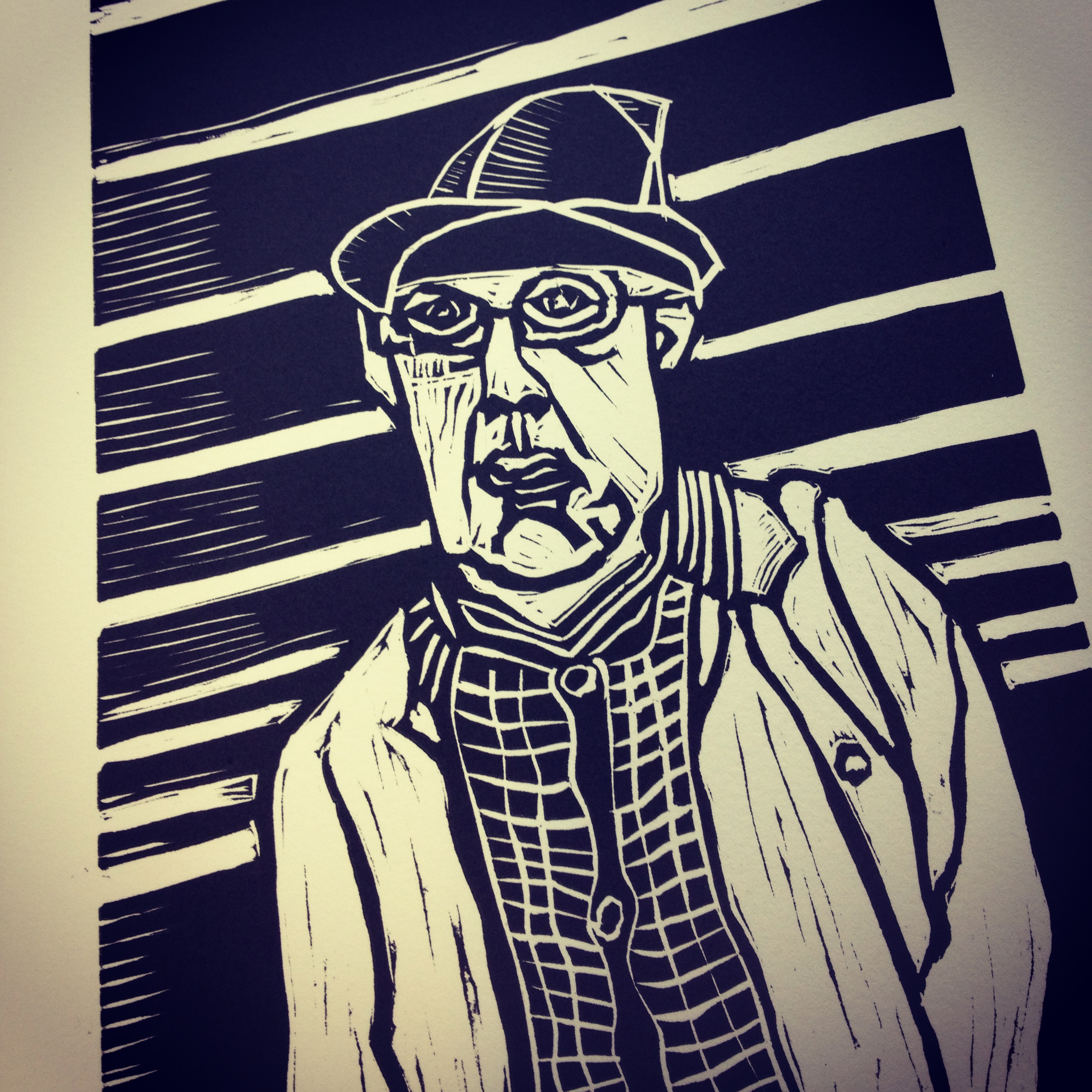 Man in Hat linocut
