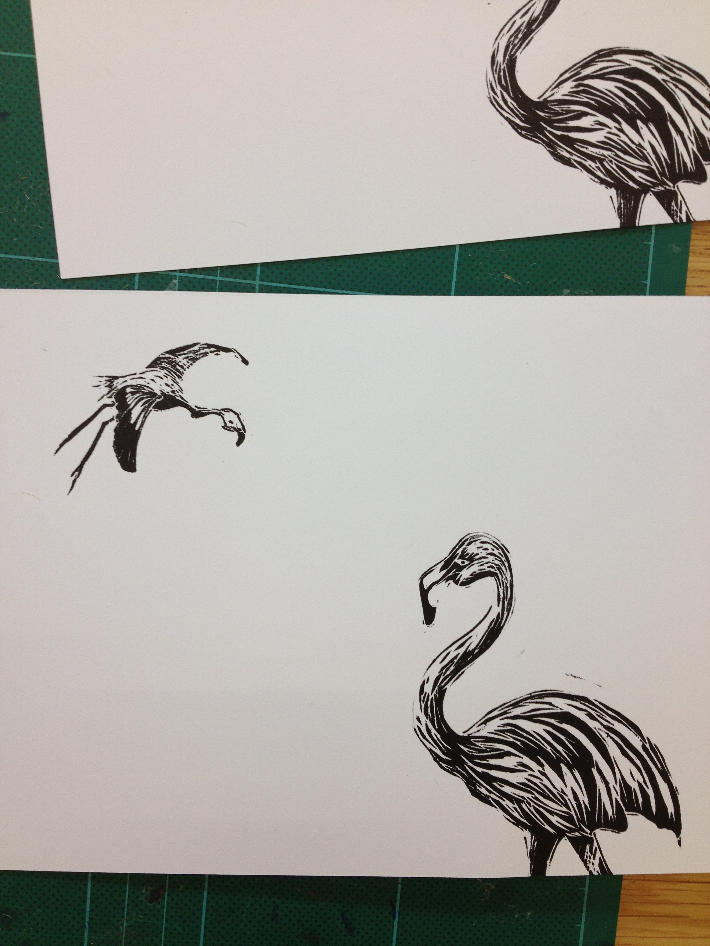 flamingo linocut