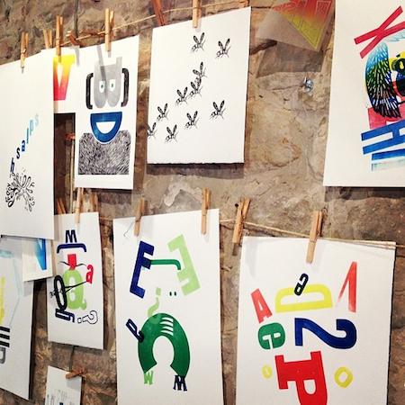 Letterpress prints drying