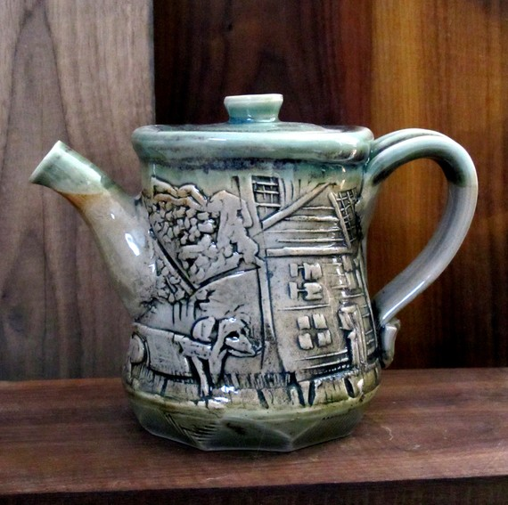 linocut teapot