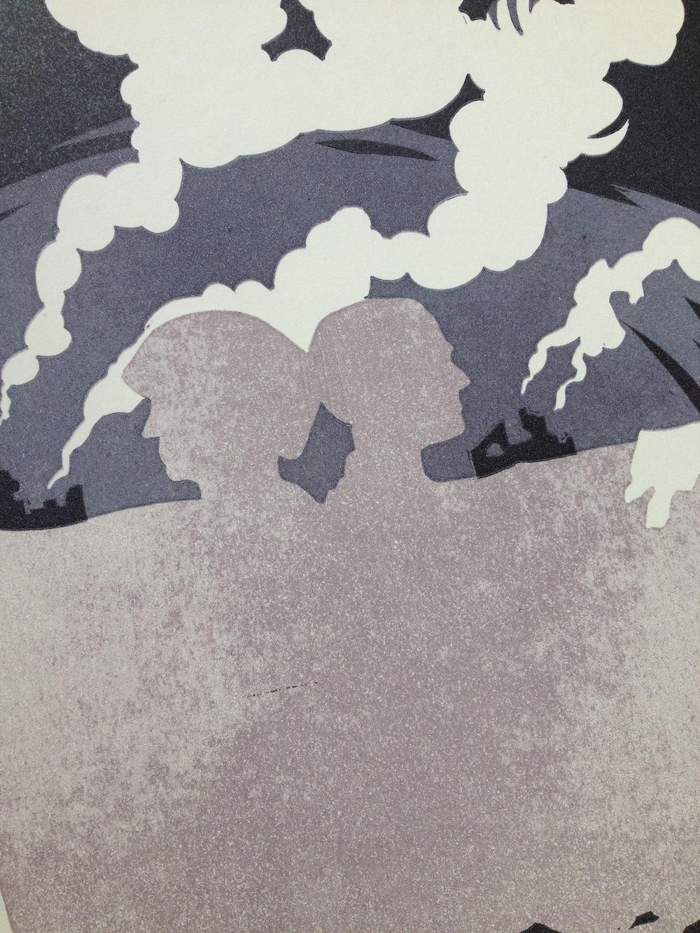 Linocut illustration detail