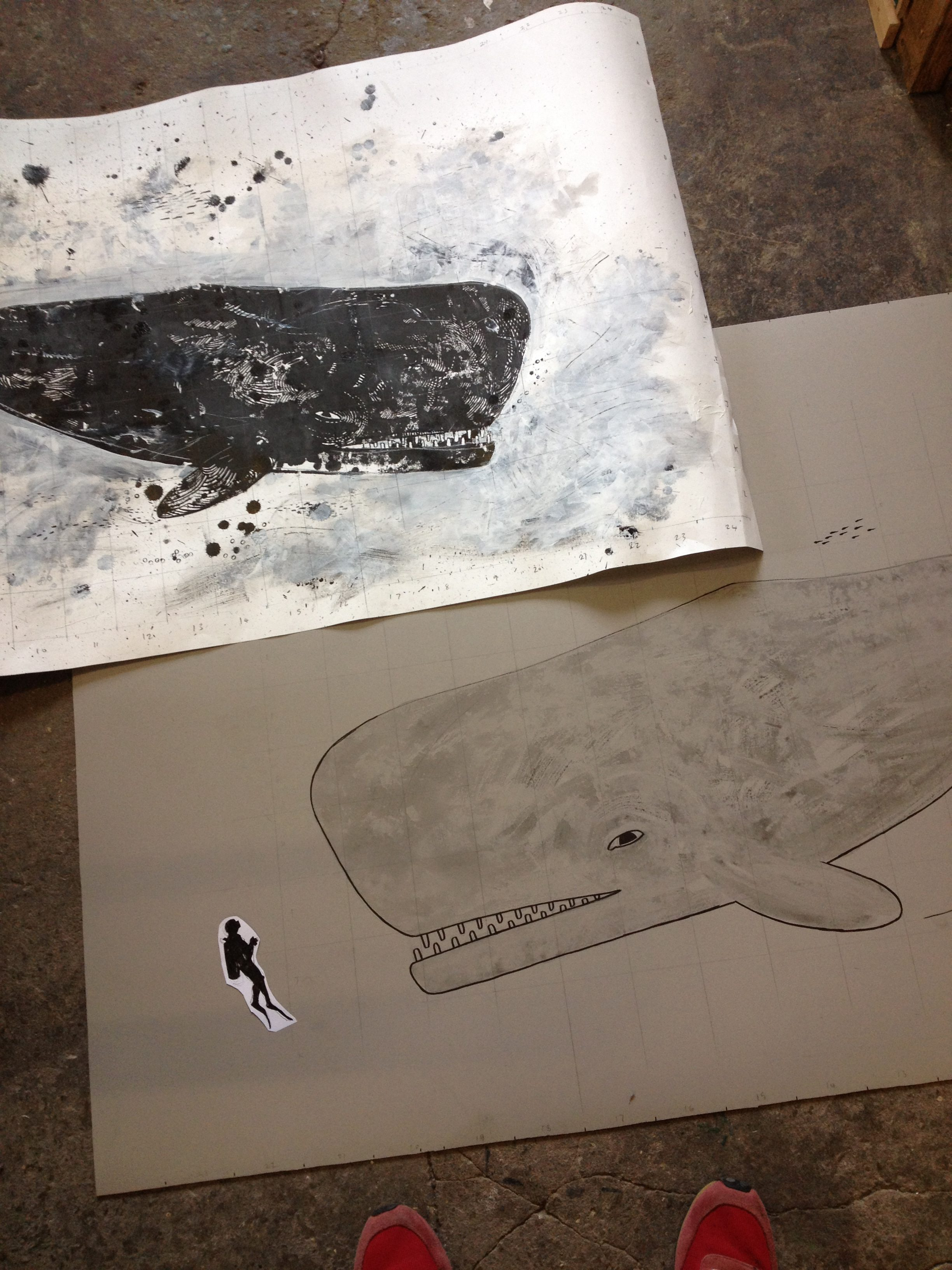 whale drawing and linocut