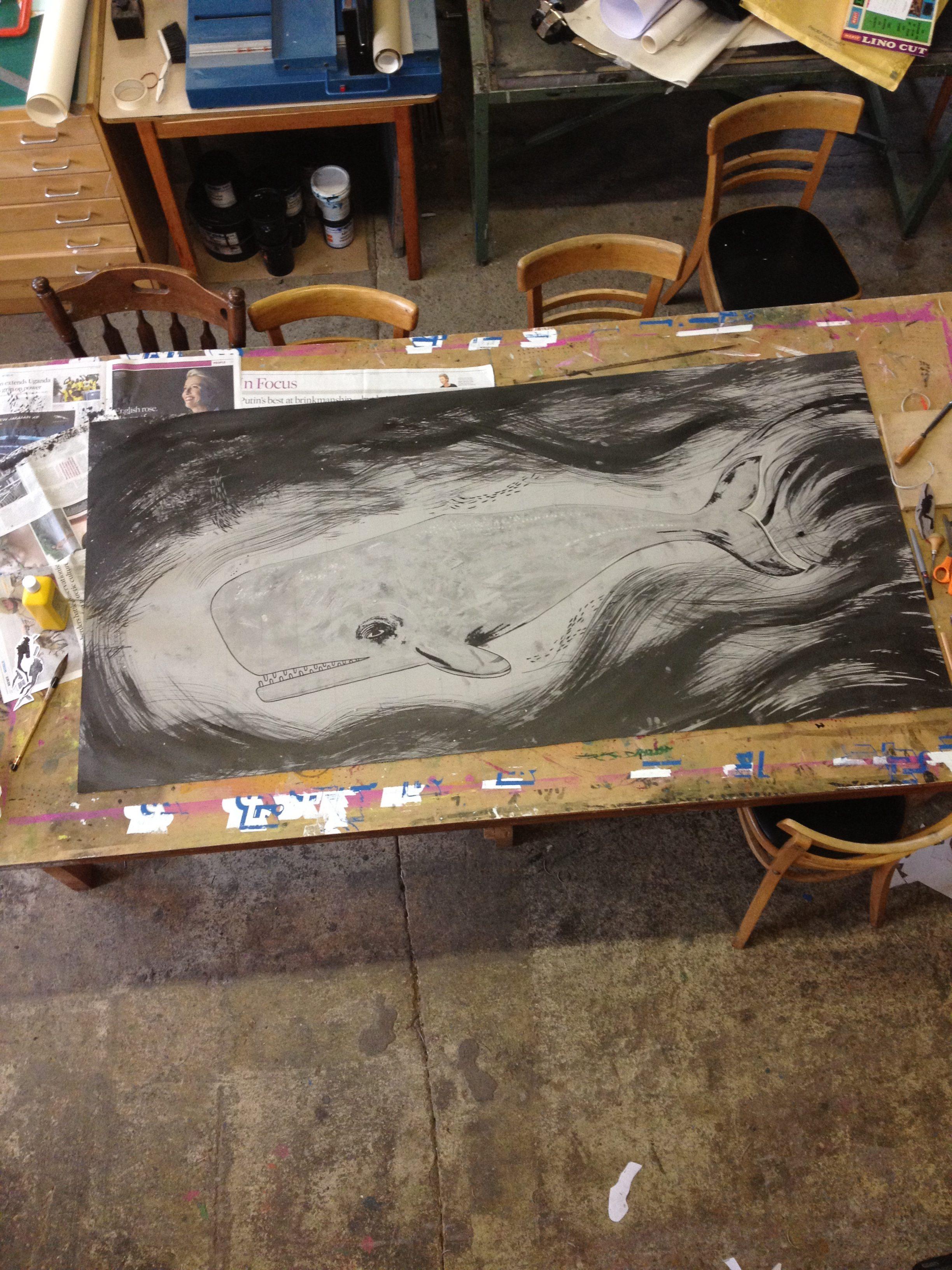 whale lino print