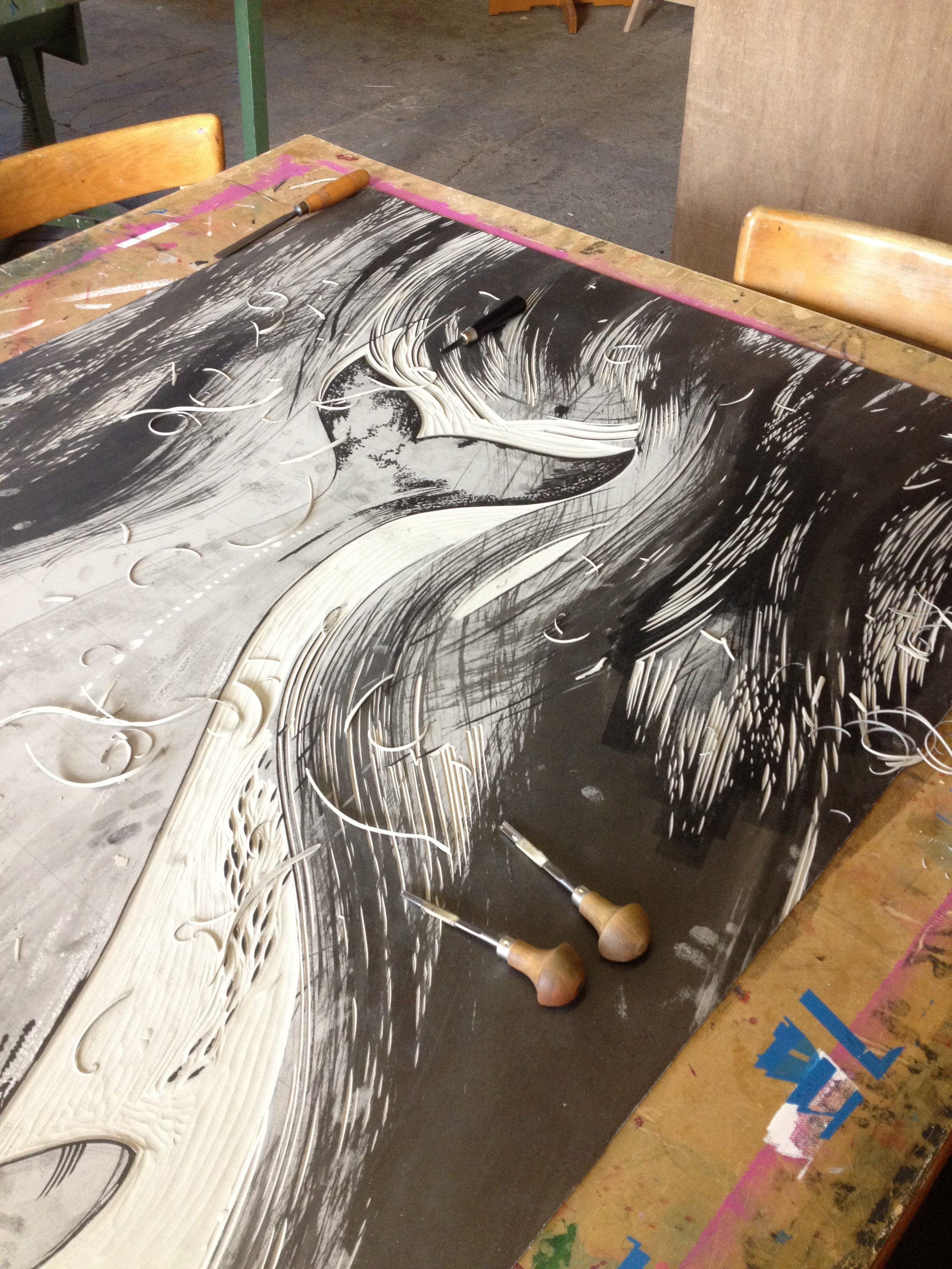 linocut carving