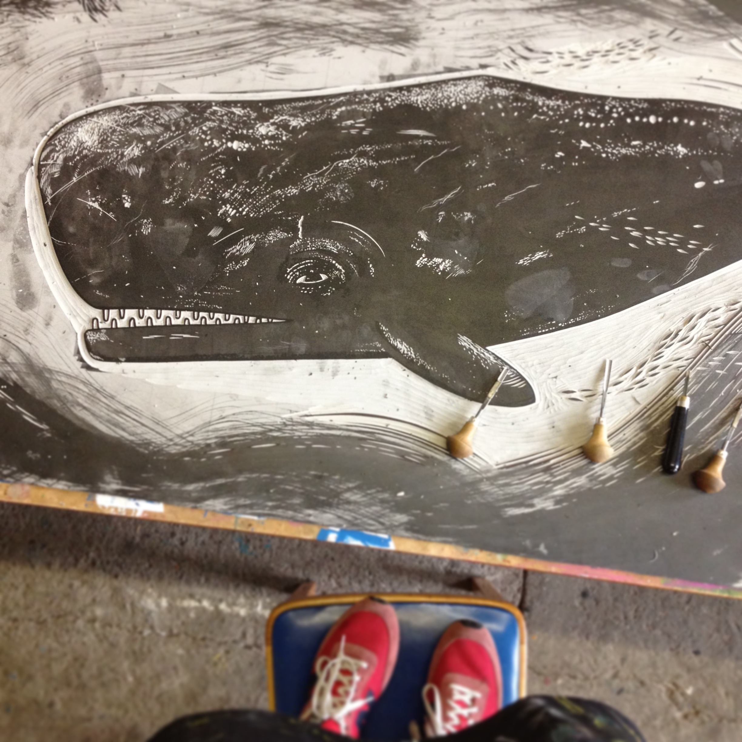 Whale linocut for Big Steam Print event
