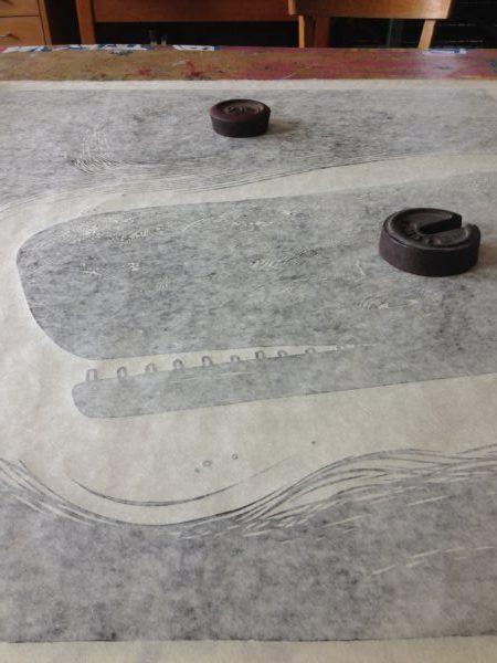 hand printing linocut