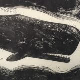 linocut of a whale