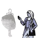 Linocut illustration of woman with a phone