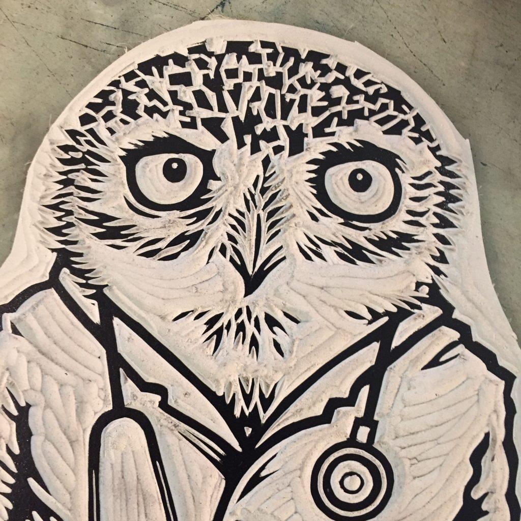 Linocut of an owl