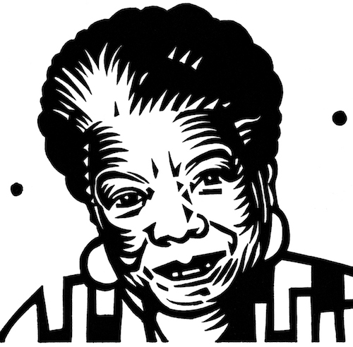 Linocut illustration Maya Angelou