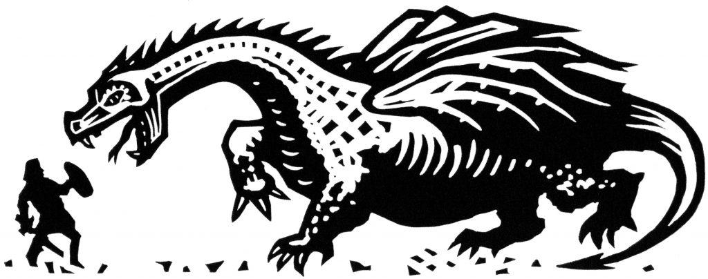 linocut illustration for Beowulf