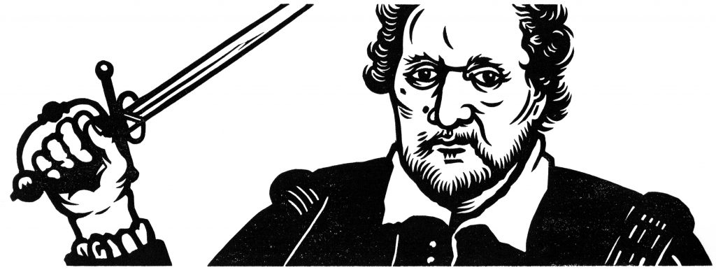 linocut illustrationof the poet Ben Johnson