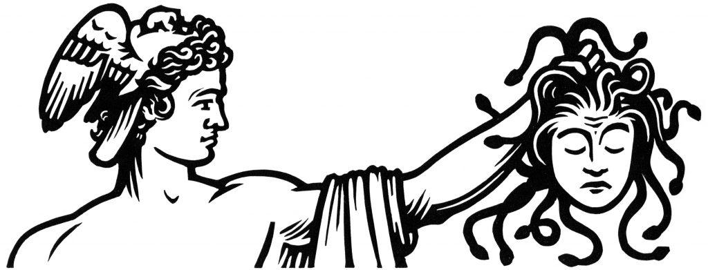 linocut illustration of Perseus and Medusa